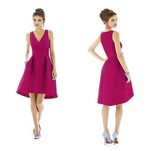 Alfred Sung Pink Sleeveless V-Neck Cocktail Dress